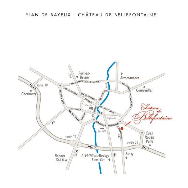 access map to the hotel **** Chateau de Bellefontaine